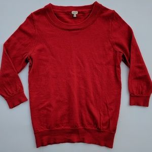 J.Crew merino wool orange/red crewneck sweater